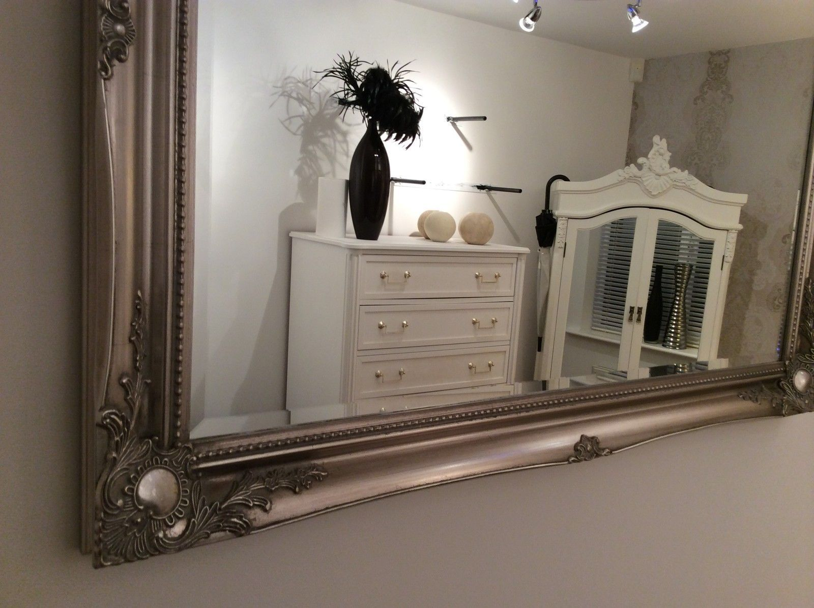 Large Silver Shabby Chic Wall Mirror 42inch X 30inch